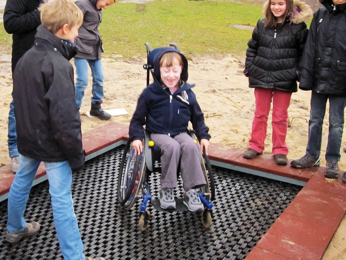 Rolli wheelchair user trampoline